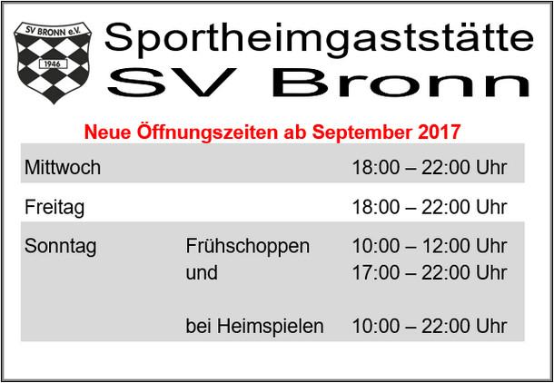 Öffnungszeiten im Sportheim